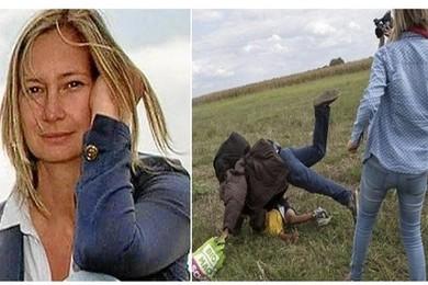 Reporter ungherese sgambetta migranti per il suo servizio TV
