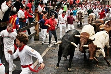 Pamplona bull run: needless to say you wouldn't feel great about joining in…..