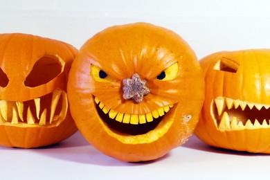 Weird Halloween celebration as pumpkin smashes through car windscreen